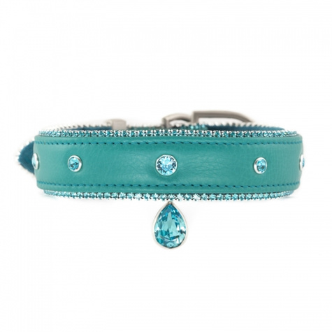 glitzy galore luxury dog collar turquoise